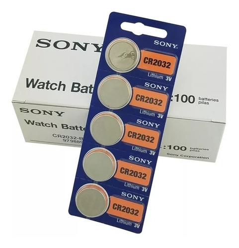 Batería Pila Cr2032 Nueva Sony Original Litio, 3v, Pack X 5