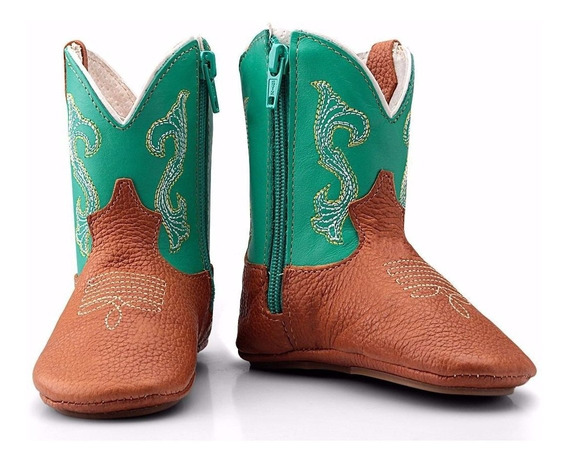 Bota Bebê Infantil Country Texana Couro Macia Capelli Boots
