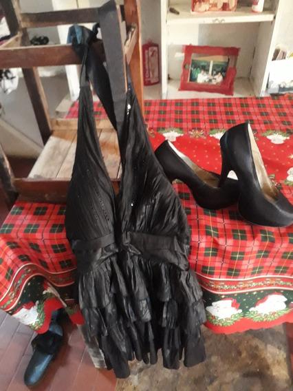Vestido De Fiesta Negro Y Zapato Negro