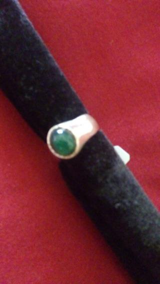 Anel De Prata Com Pedra Verde, 18cm