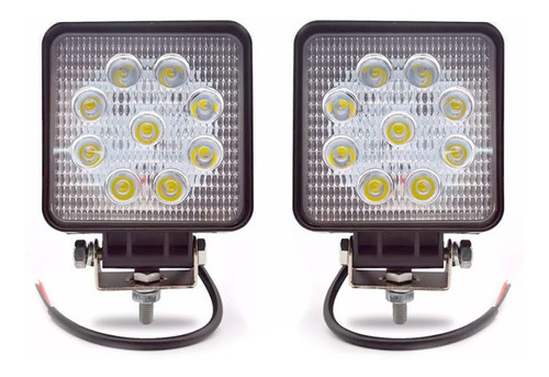 Par Faro Auxiliar Eversafe 9 Led 27w Off Road 4x4 Cuadrado