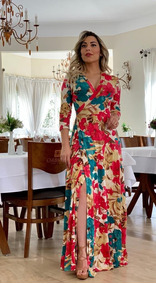 Vestidos Moda Evangélica Longos Femininos Visco Envelope
