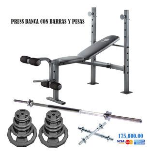Press Banca Extención Piernas Golds Gym Con Barras Y Pesas