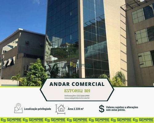 Imagem 1 de 30 de Andar Corporativo Para Alugar, 2.220 M² E 82 Vagas - Estoril - Belo Horizonte/mg - Ac0058