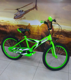 Bicicleta Rodado 20 Andes Verde Fluor Niño O Niña Con Pata