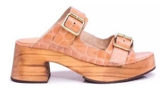 Zapato Mujer Zueco Natacha Cuero Charol Croco Nude #3332