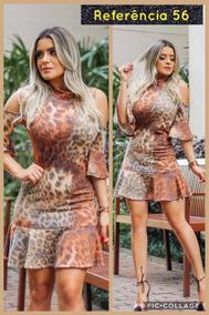 Vestido Suplex Animal Print Onça Maravilhoso