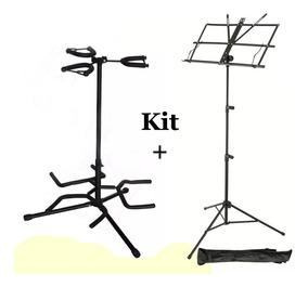 Kit Com 1 Suporte Triplo Violão Guitarra + Estante Partitura