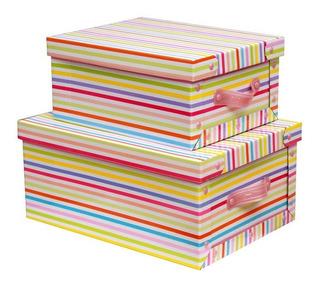 Cajas Baulera De Carton Plegables 32x23x18cm Con Manija