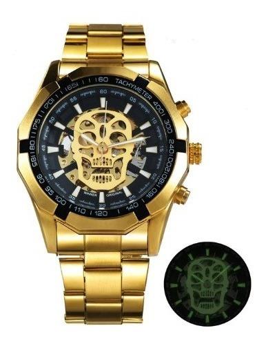Relógio Vencedor Do Clássico Ouro Skeleton Mechanical