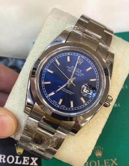 Relógio Date Just Automático Safira Inox Luxo Funcional 12x