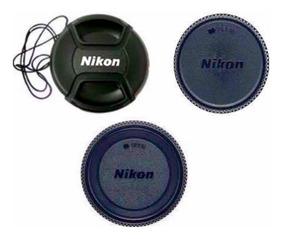Kit 3 Tampas Frontal Traseira Corpo Nikon Nikkor Ø58 58mm