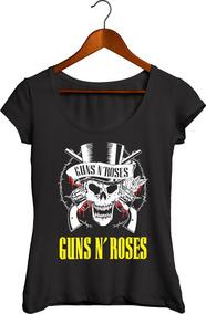 Camisa Canoa Algodão Feminina Guns N Roses Rock 028