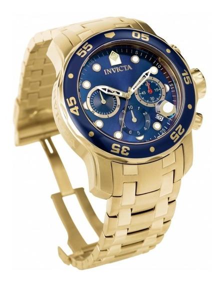 Relógio Invicta Pro Diver 0073 Ouro Azul Envio 24 Hrs