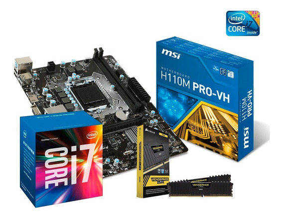 Kit Core I7 7700 + Placa Mãe H110 + 16gb (2x8) Corsair + Nfe