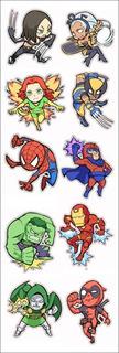 Plancha De Stickers De Marvel Spiderman Xmen Hulk Ironman