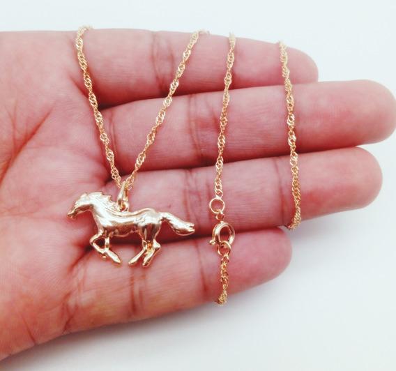 Corrente Cordão+pingente Banhado Ouro Singapura Cavalo 207
