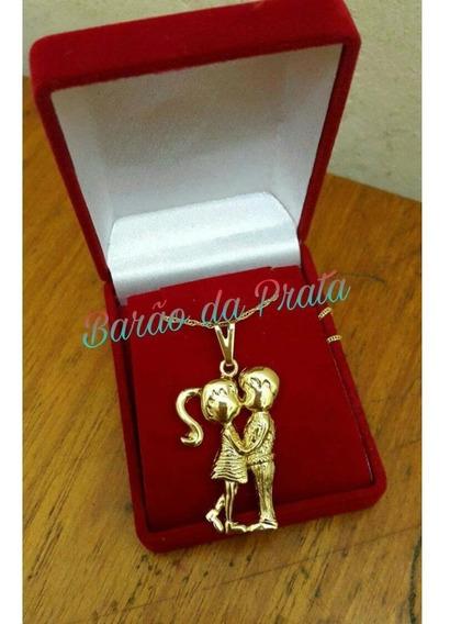 Cordão Feminino 45cm + Pingente De Casal Banhados A Ouro