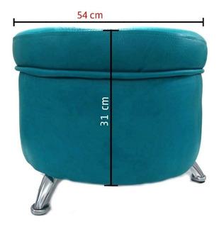 Puff Mueble Redondo Tapizado Moda Verde Silla