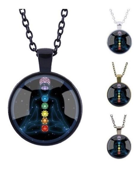 Collar De 7 Chakras Retro Negro, Simb Yoga + Caja De Regalo