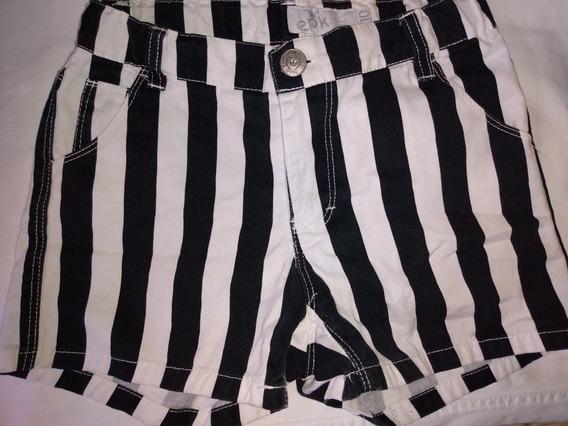 Shorts De Rayas Blanco Y Negro Talla 10 Para Niña Marca Epk