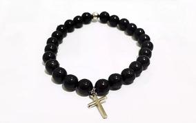 Pulseira Masculina Feminina Bolinhas Cruz Crucifixo