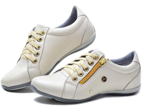 Sapato Tênis Feminino Confortável Em Couro Legítimo