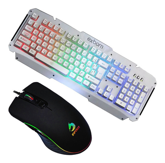 Kit Gamer Teclado Branco Iluminado Metal Mouse Led Rgb Usb
