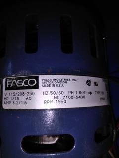 Motor Ventilador Fasco 1/15hp V115 V230 Rpm1550