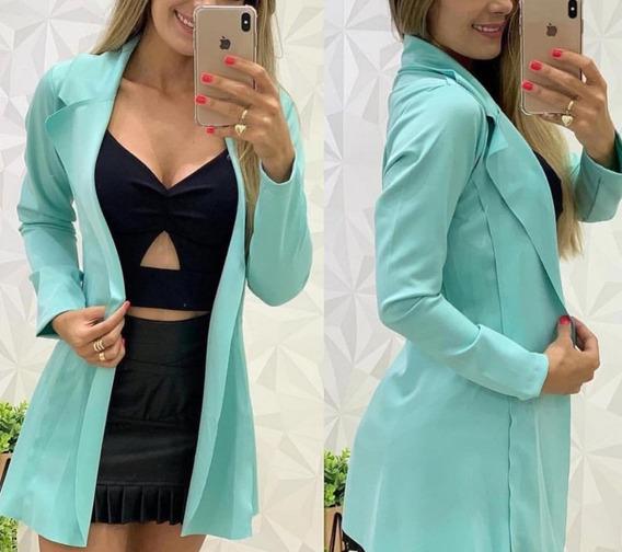 Blazer Casaco Feminino Maxi Comprido Longo Neoprene Slim Top