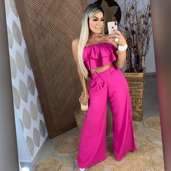Calça Pantalona Feminina Cós Alto Com Elástico Verão 2020