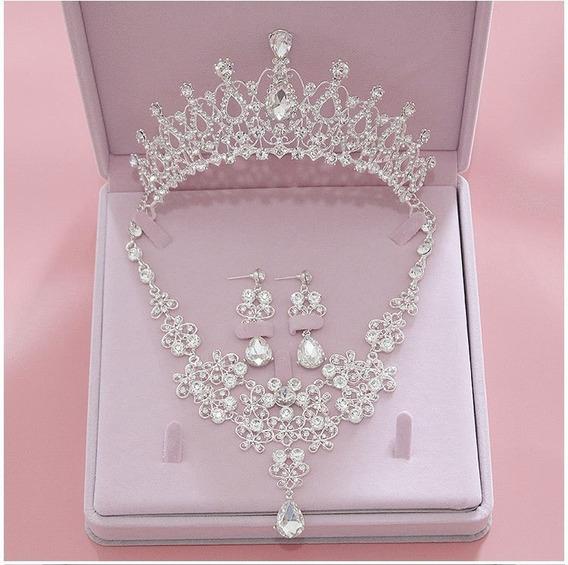 Tiara Collar Gargantilla Aretes Cristal Xv Años Graduacion