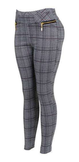 Pantalon De Vestir Cuadros Con Cremallera, Estrech, Grueso.
