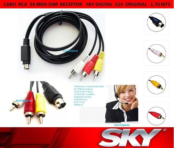 1 Cabo De Audio E Video Para Sky S14 Dim/rca (original)