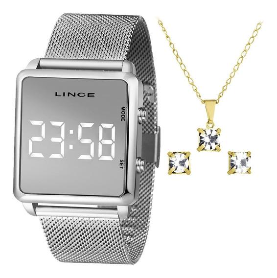 Relógio Digital Led Lince Feminino Mdm4619l Bxsx + Kit + Nf