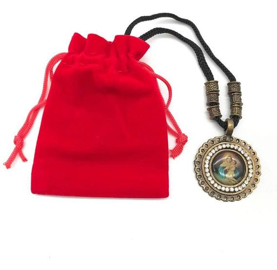 Cordão Medalha E Strass Mãe Rainha Ouro Velho