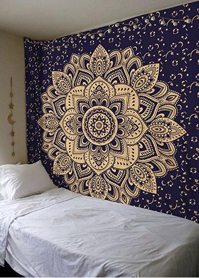 Nueva Lanzado Pasión Oro Azul Ombre Mandala Tapiz Por Madhu