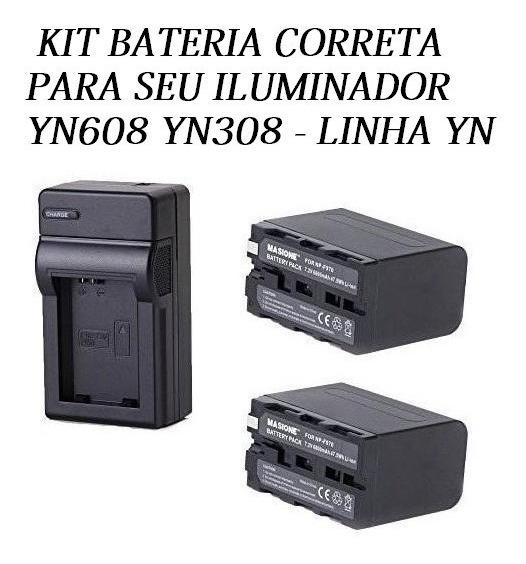 Kit Bateria Duas Grandes F-970 + Carregador Yn608 Yn308