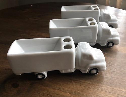 Kit 3 Caminhões Porta-caneta Porcelana
