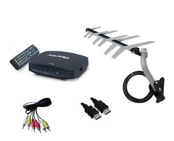 Conversor Digital Aquário Dtv-7000s Antena Externa Completa