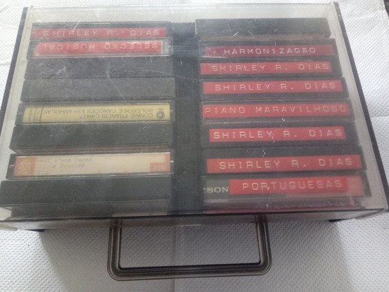 Combo De 16 Fitas K7 Cassete E Porta Fita Acrílico
