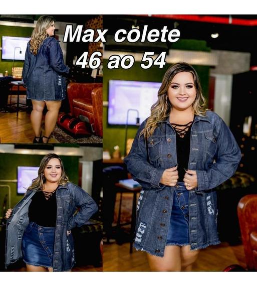 Jaqueta Jeans Maxi Plus Size Gg E Xg
