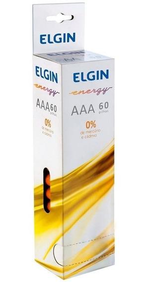 Pilhas Zinco-carvão Elgin Aaa 1.5v Shrink 60 Peças