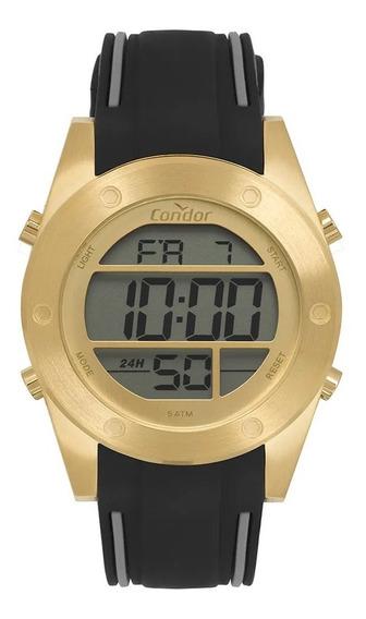 Relógio Condor Masculino Digital Dourado Pulseira Silicone