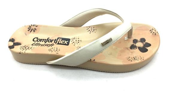 Sandalia Chinelo Feminino Comfortflex Branco Marrom Coral