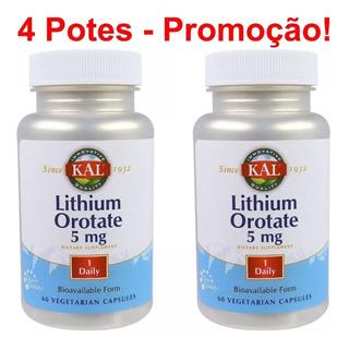 Litio Orotate Lithium 5mg 4 Potes - 240 Caps Frete Grátis !!