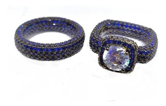 It7-anel Aliança Duplo Prata 925 Zirconias Azuis Rodi Negro