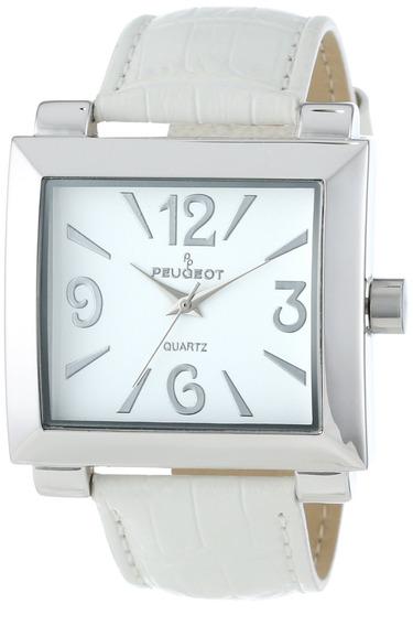 Reloj De Correa De Cuero Blanco Plateado Peugeot 706wt Pa