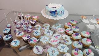 Promo Mesa Dulce Frozen. Torta+cupcakes+pops+cookies+donas.