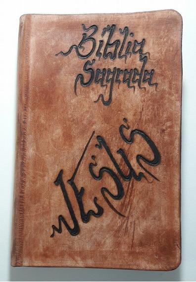 Bíblia Sagrada ... Capa Couro ... Pirografia Na Arte !!!